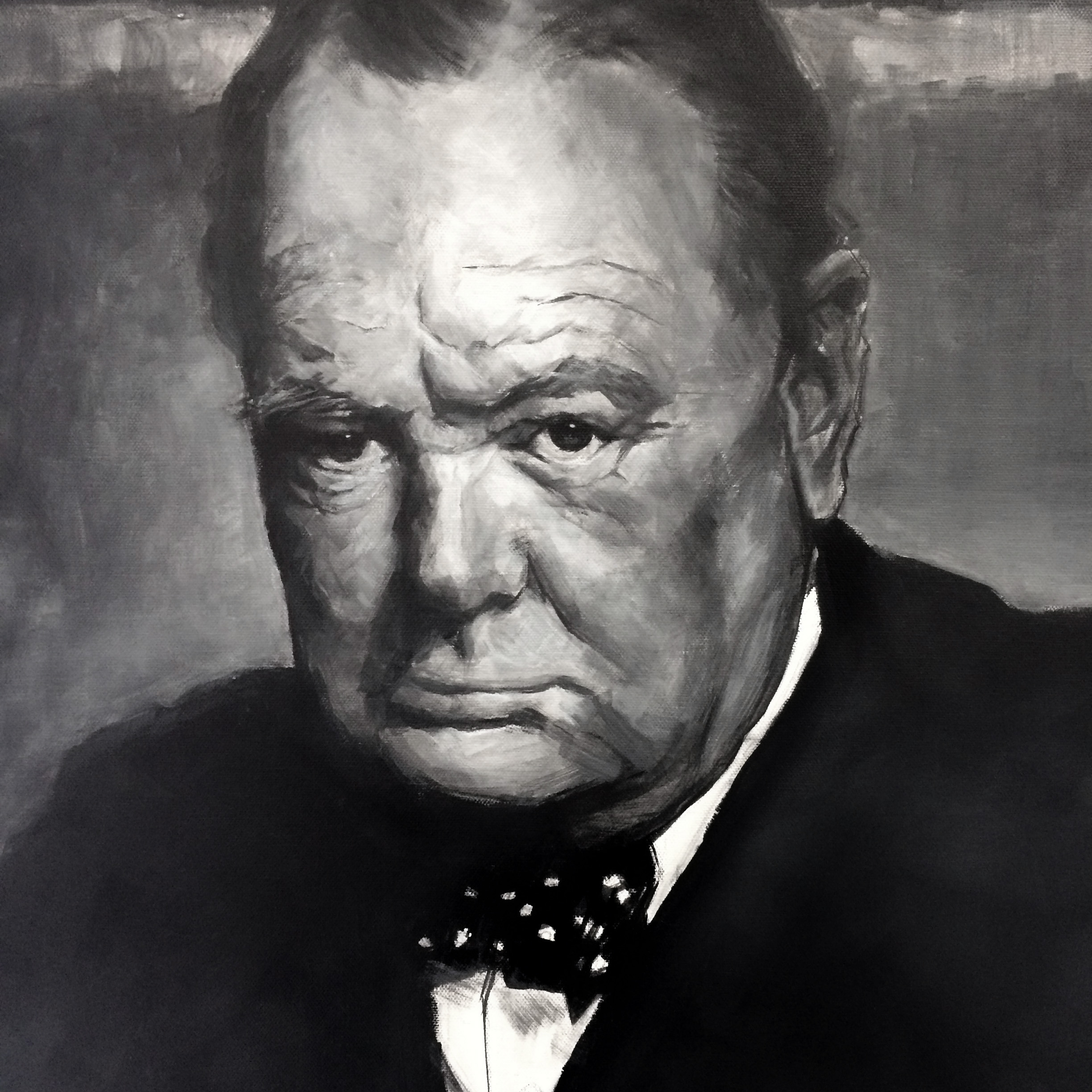winston churchill painting fine art acrylic