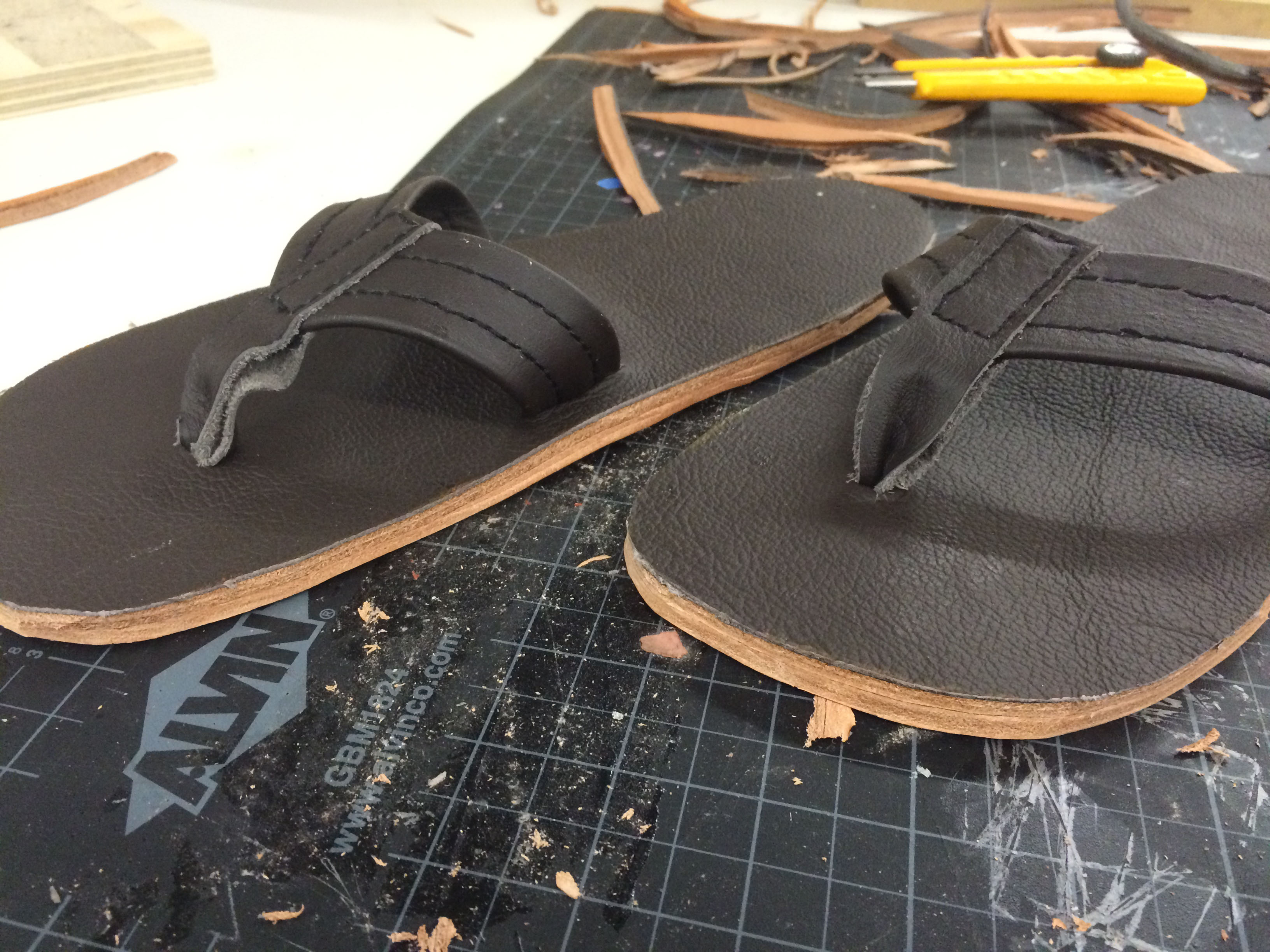 Leather sandals design home made DIY make how to craft hands on learning own sew stitch cut