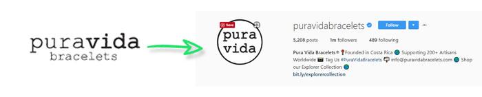 Pura Vida Bracelets Instagram Logo