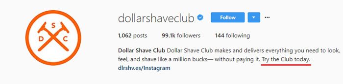 Dollar Shave Club Instagram Bio Example