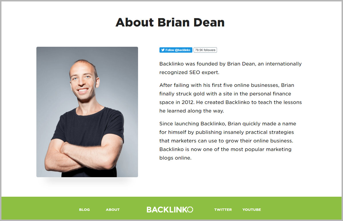 Backlinko makes it clear to visitors that it is run by Brian Dean