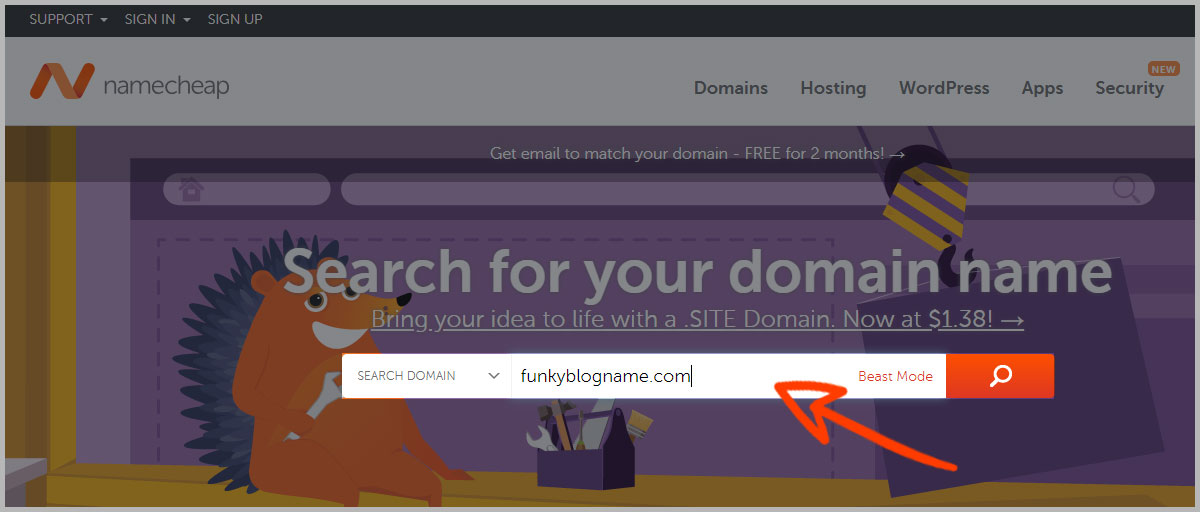 Search for your blogs domain name using Namecheap