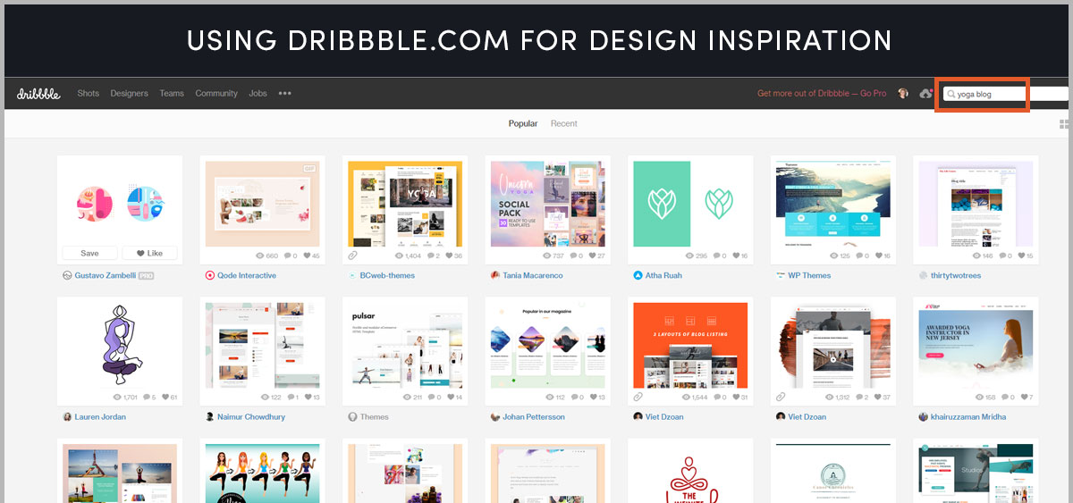 Use Dribbble.com for design inspiration, color pallets and font ideas