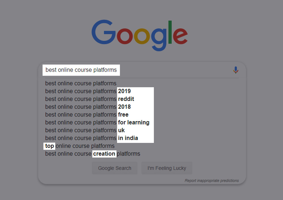 Use Google to find keyword ideas