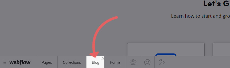 Select your blog inside the Webflow editor