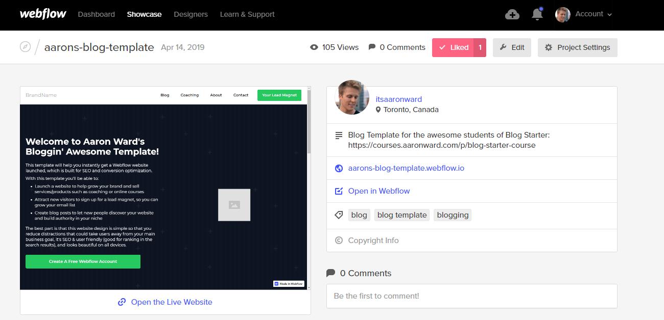 Get Aaron Ward's Webflow template