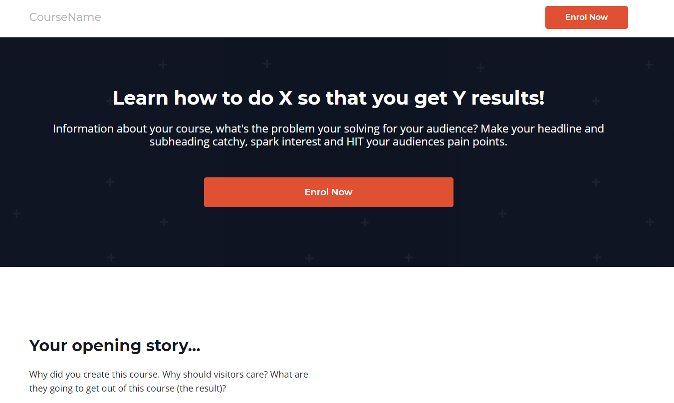 Get Aaron Ward's online course sales page template