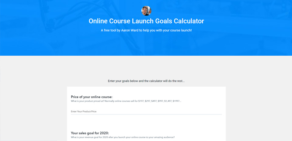 Online Course Launch Calculator