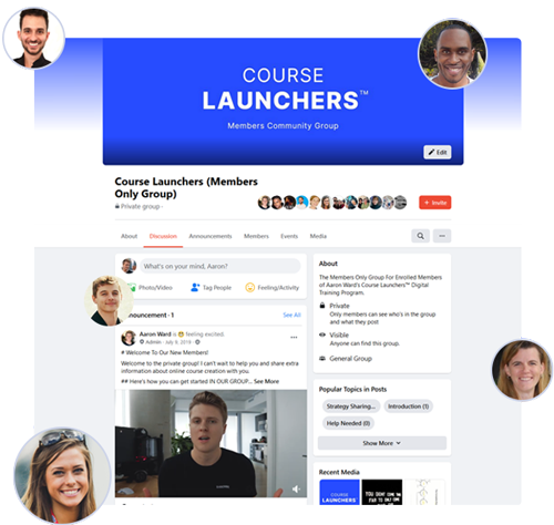 A screenshot of the Course Launchers Facebook group for clients inside the program.