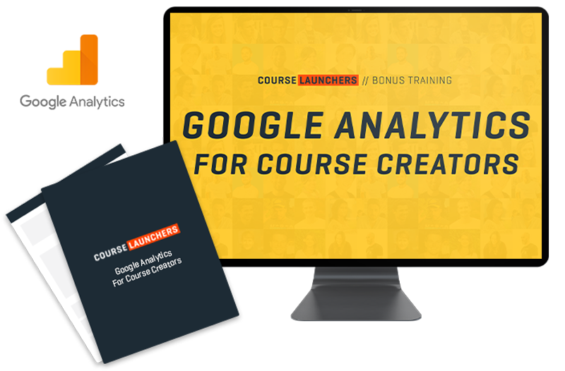 Course Launchers Google Analytics bonus product image in a computer display