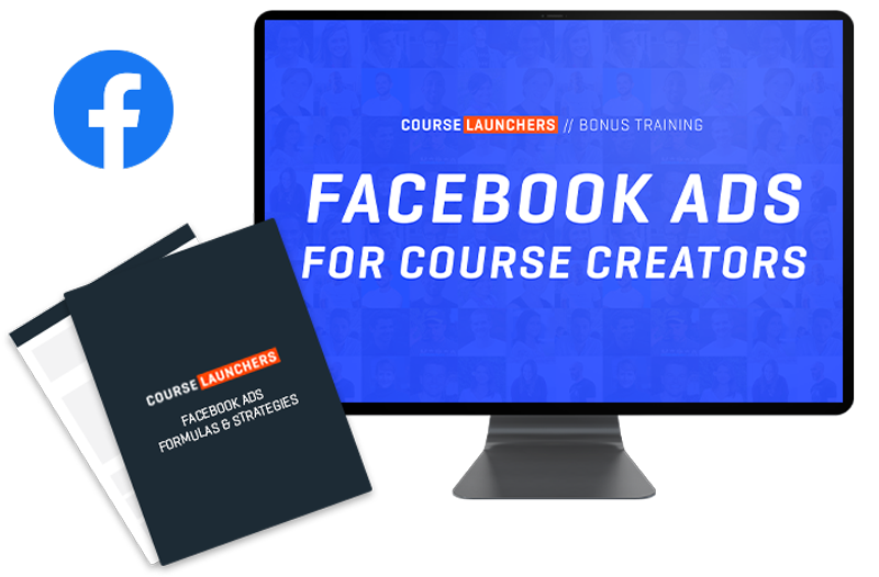 Course Launchers Facebook ads bonus product image in a computer display