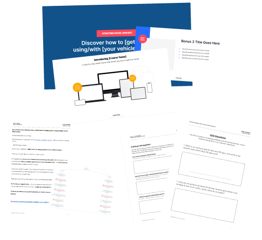 Course Launchers templates, different worksheets, slides, and email copy examples.