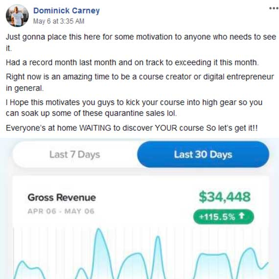 Dominick Carneys $34,000+ month of selling online courses after joining Aaron Ward's Course Launchers program