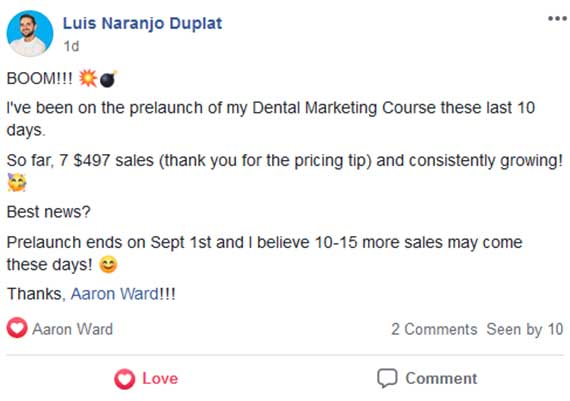 Luis Duplats first online course sales after joining Aaron Ward's Course Launchers