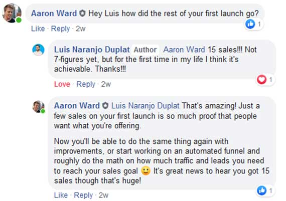 Luis Duplats final online course prelaunch sales from Aaron Wards Course Launchers MVP strategy