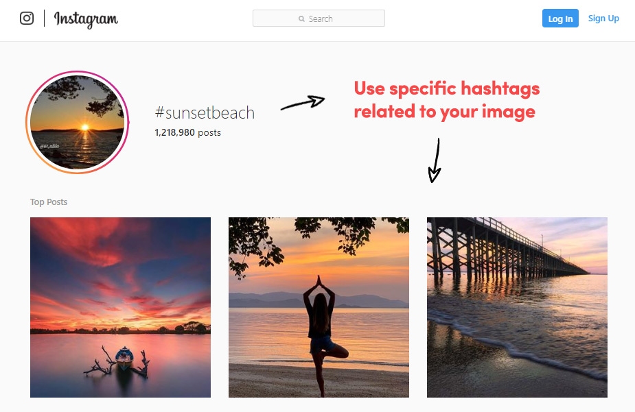 Instagram hashtag related to an image