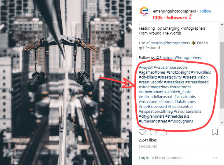 Instagram account using hashtags