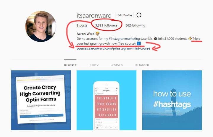 Instagram optimized bio