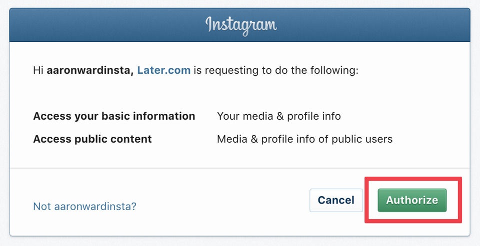 Authroize Instagram request
