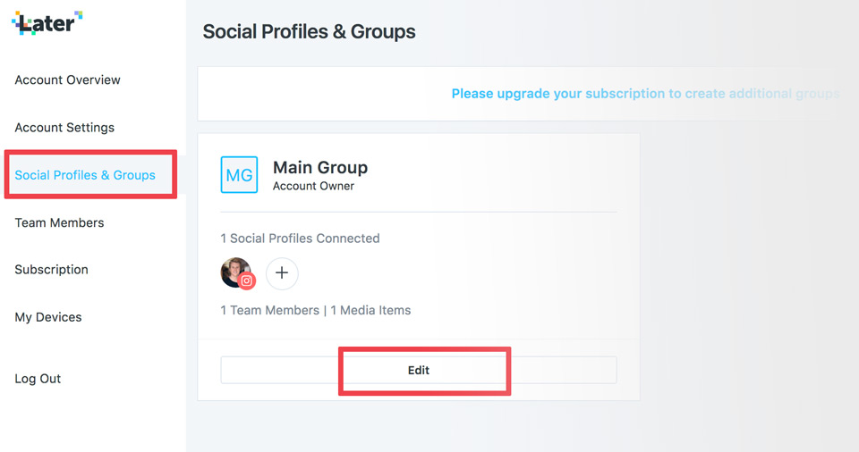 Later social profiles and groups settings
