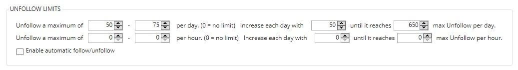 Jarvee unfollow limit settings