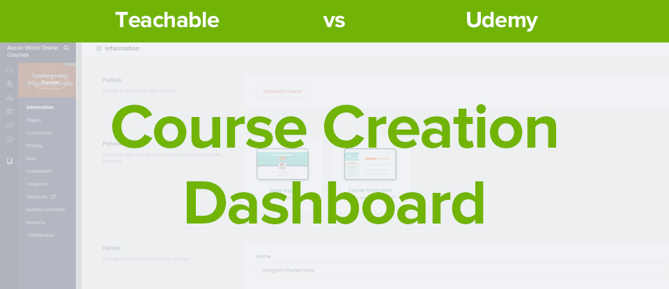 Course creation dashboard banner