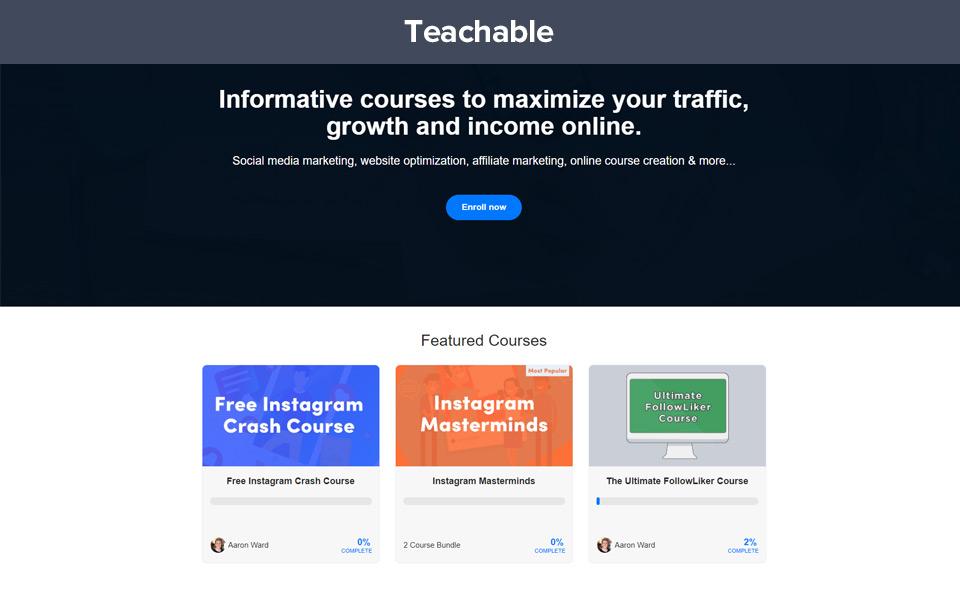 Example of teachables platform