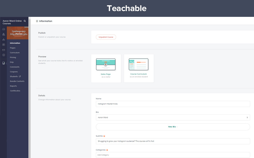 Example of Teachable course creation dashboard