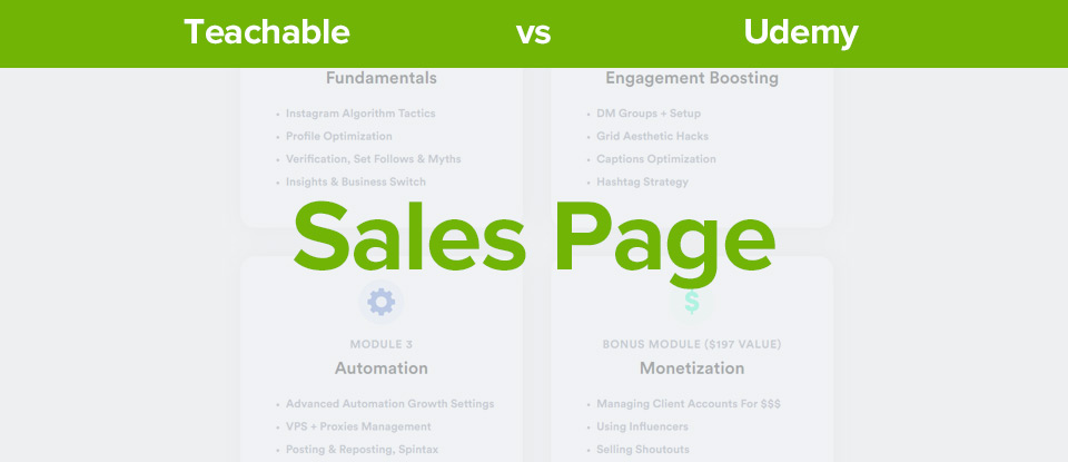 Teachable vs udemy sales page banner