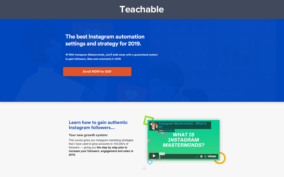 Example of teachable sales page using custom code