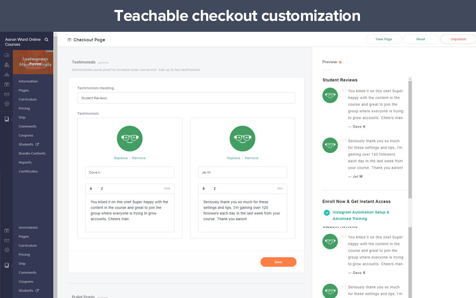 Example of teachable checkout page customization