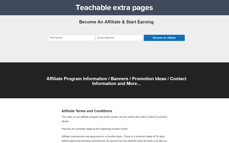 Example of an affiliate page made on Teachable