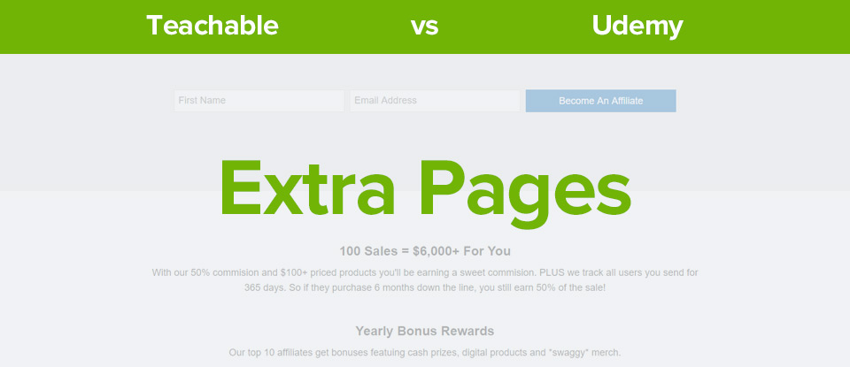 Teachable vs udemy extra pages banner
