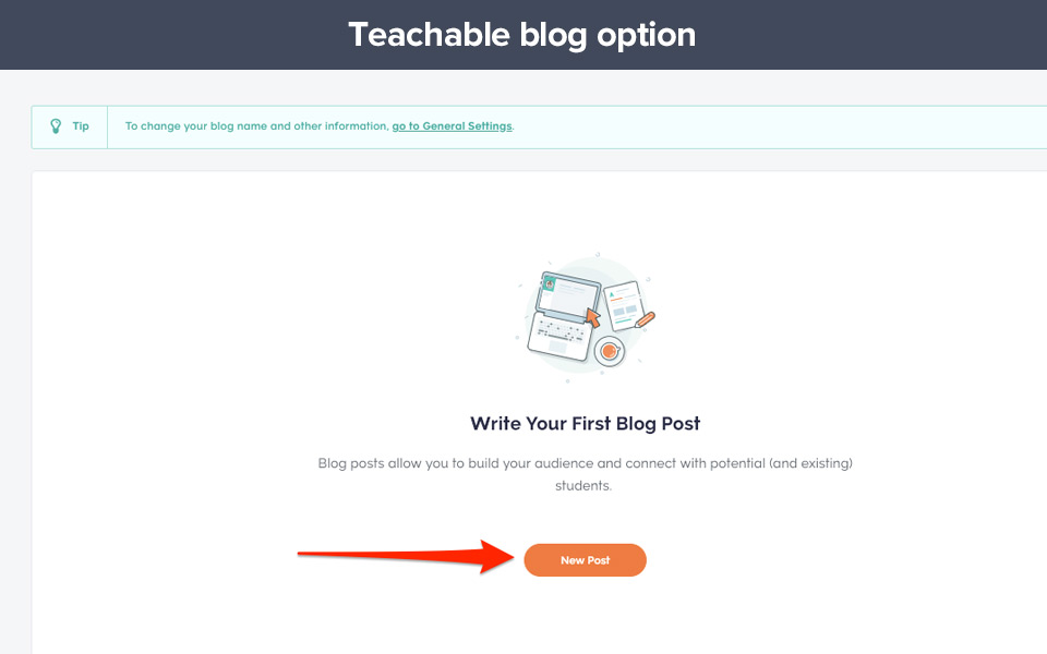 Example of adding a teachable blog page
