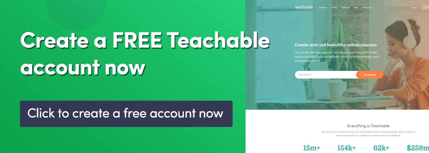 Create a free teachable account banner