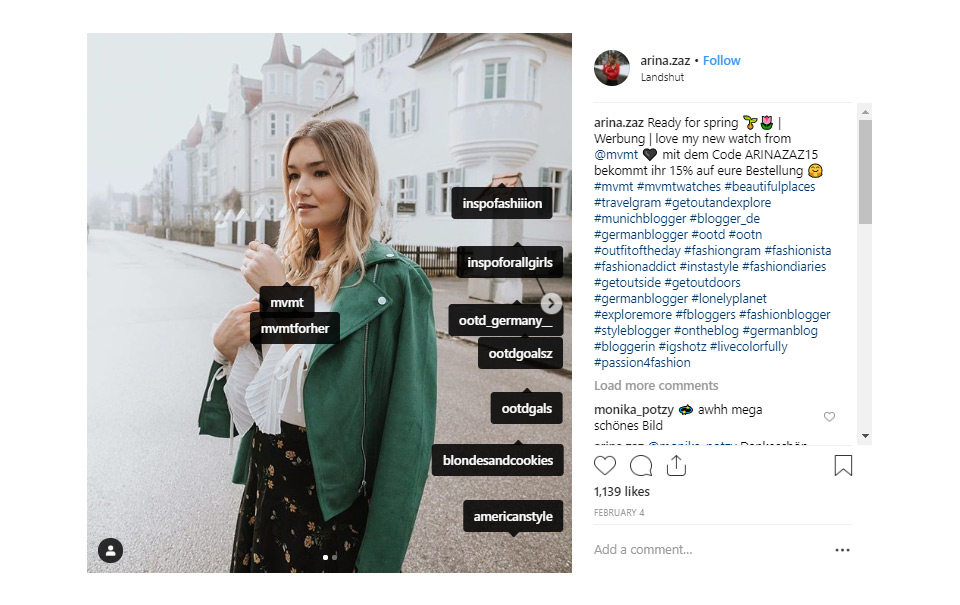 Example of tagging brands on Instagram