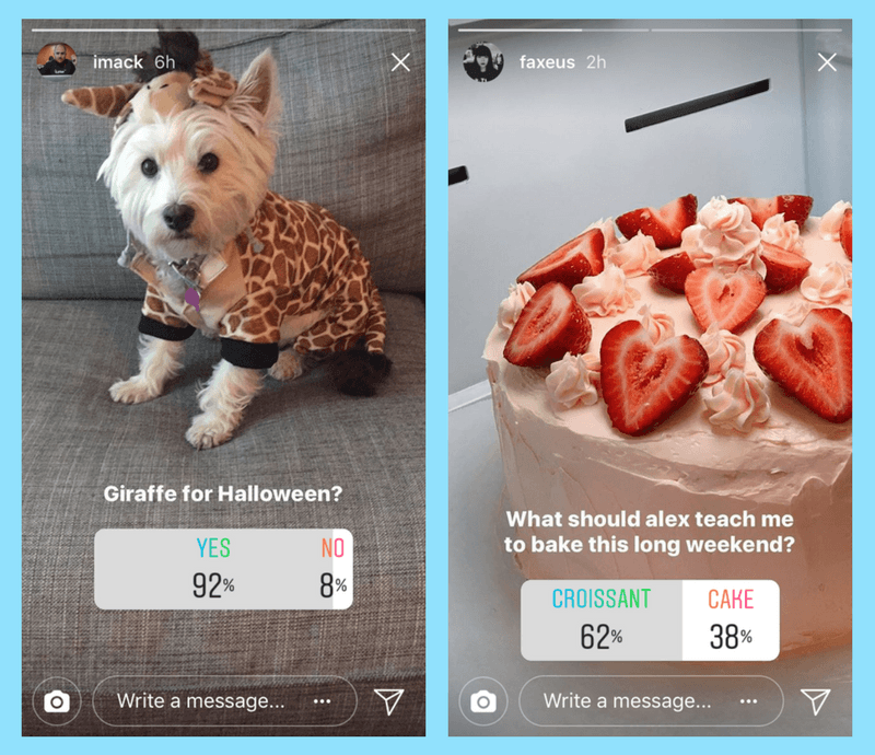 Example of an Instagram story with a poll
