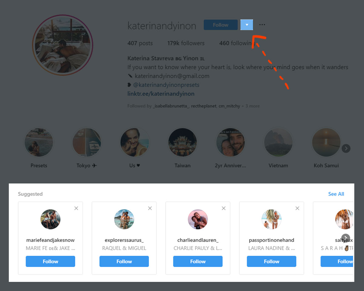 Use Instagram suggested users for profile picture inspiration