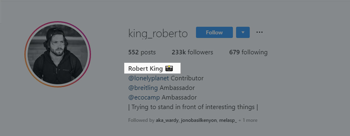 Robert King adds an emoji camera to his name to stand out more