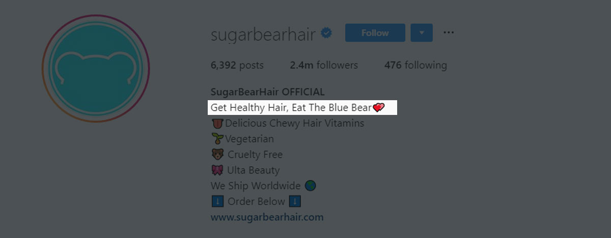 SugarBearHair gets creative with their first bio line