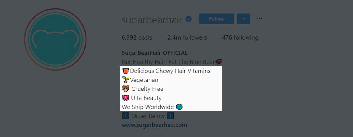 SugarBearHair lists the features of their product in their second bio line