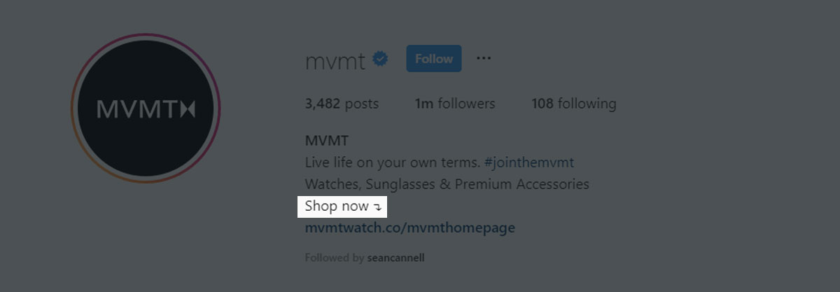 MVMT uses a simple call to action of Shop Now to drive traffic to their website