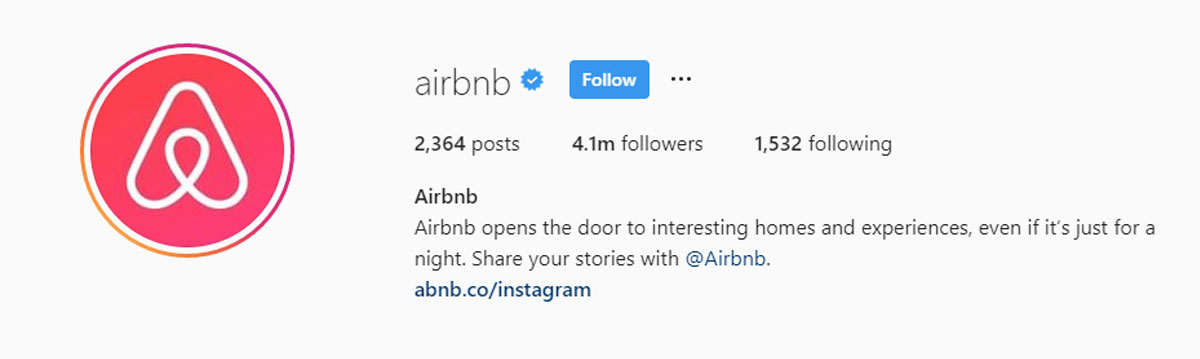 Airbnb forgets to add a call to action to their bio