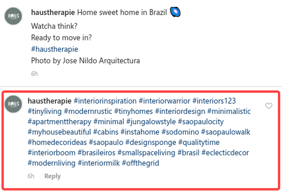 Example of hashtags being placed in Instagram comments
