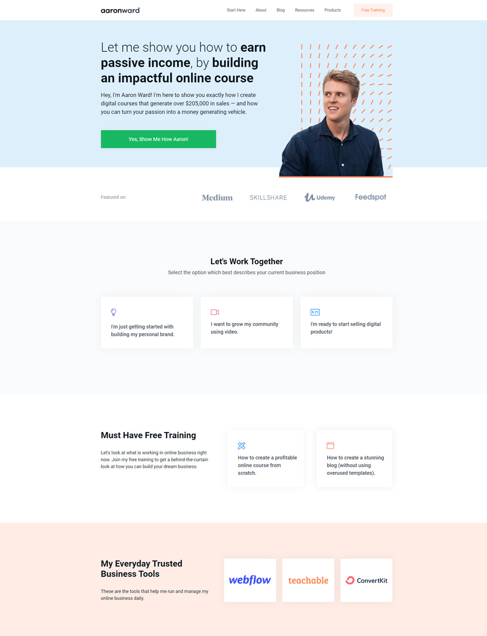 Aaron's website after changes