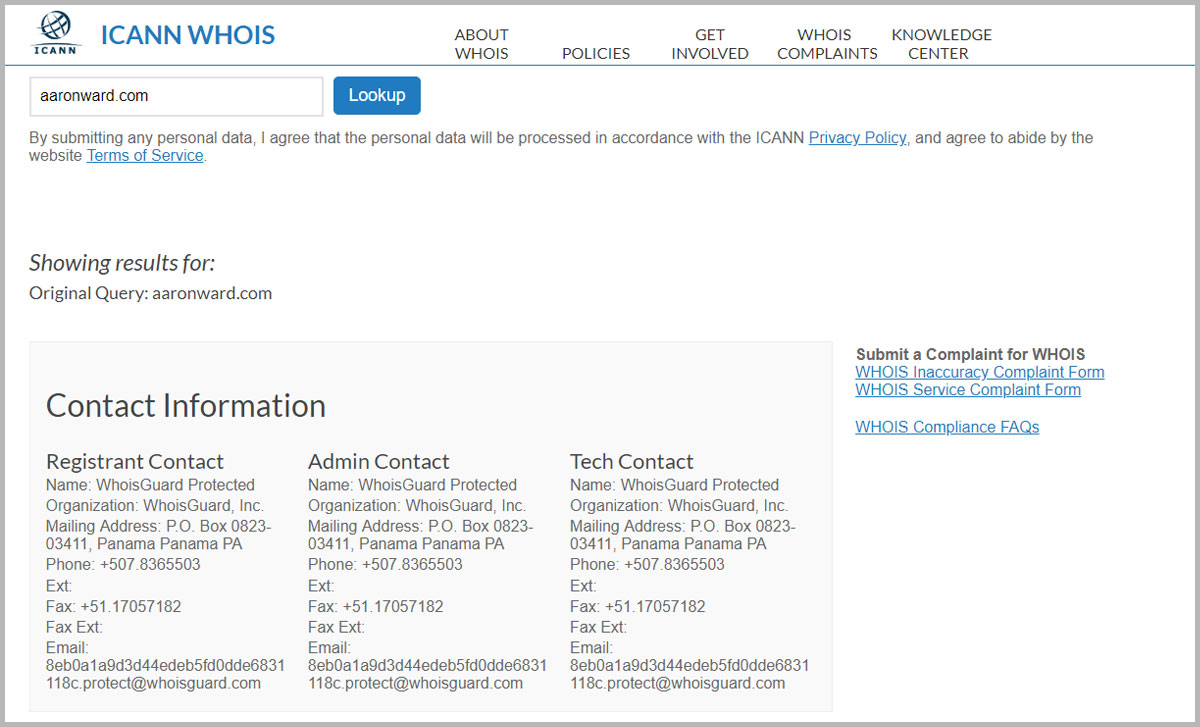 Example of aaronward.com whois information replaced with Namecheap