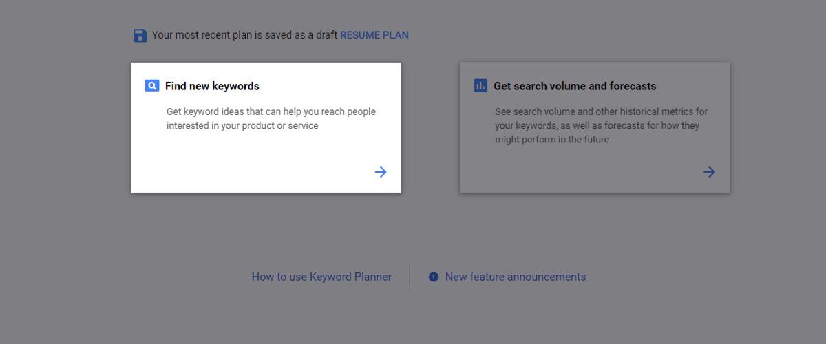 """Click on """"Find new keywords"""" inside of Google Keyword Planner"""