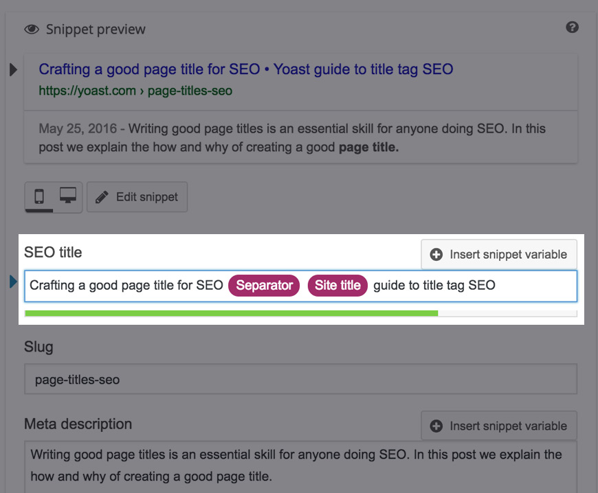 Add your focus keyword to your SEO title