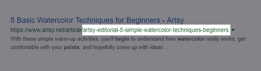 Example of a URL slug