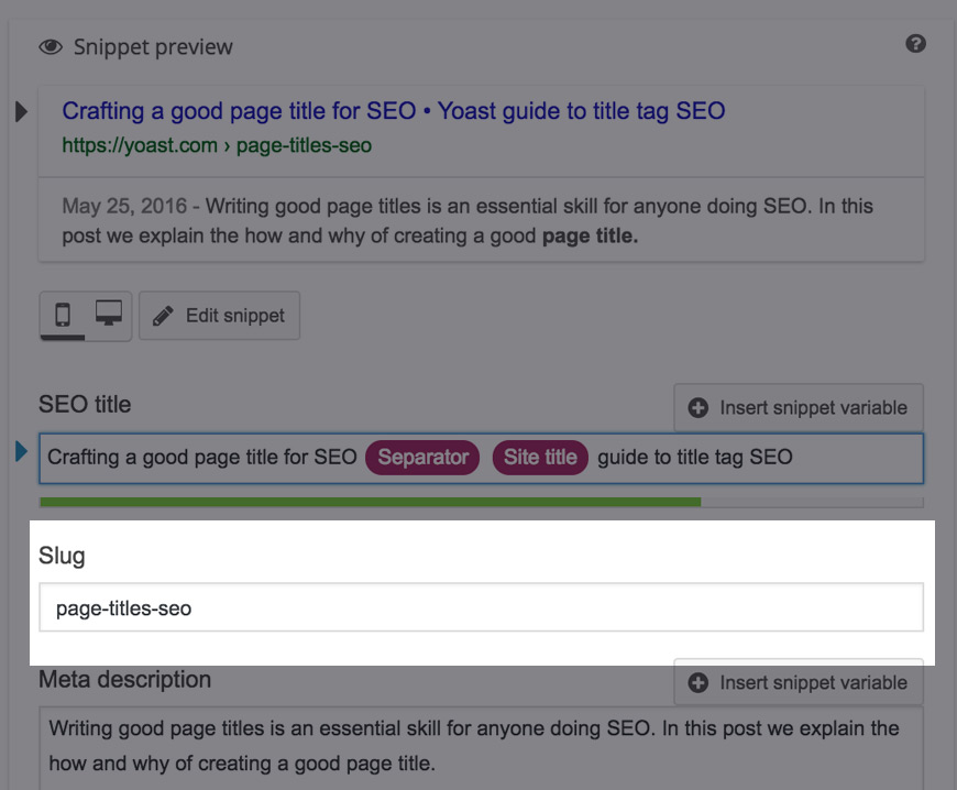 Change your URL slug using the Yoast SEO plugin